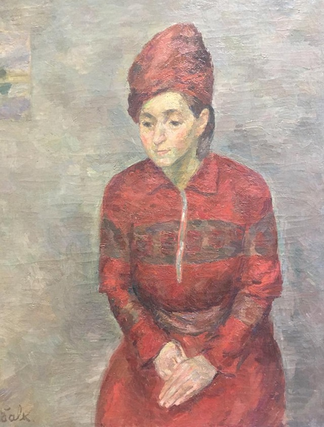 Р. Фальк. Женщина в красном. х.м. 1943-1945 г.