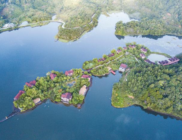 Здания в окружении деревьев в Национальном парке тропических лесов на острове Хайнань, провинция Хайнань.